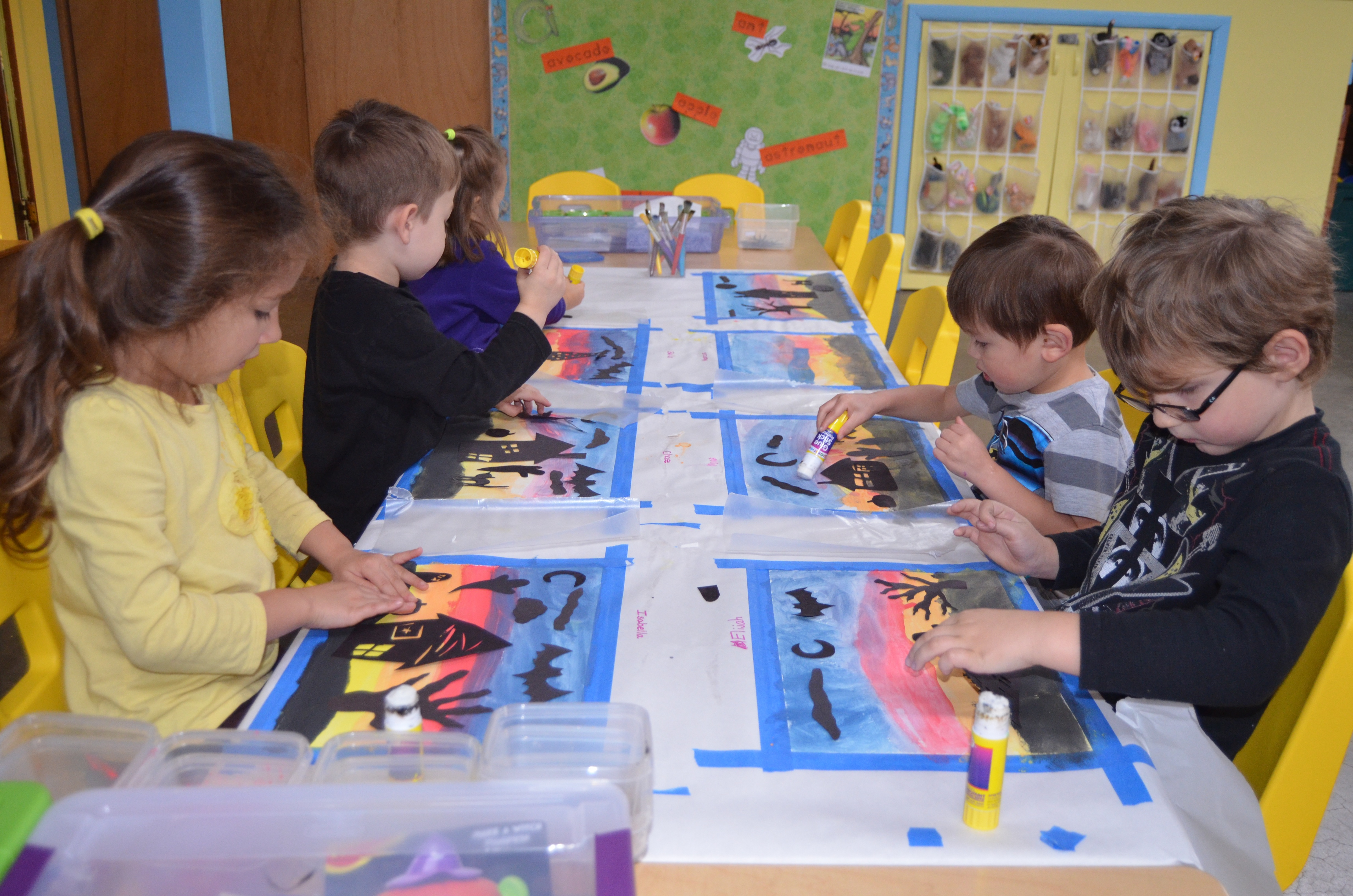 misty jade created black halloween cut outs for the children to paste over their paintings the pictures were then framed and put up on our new bulletin - Pictures Of Kids Painting